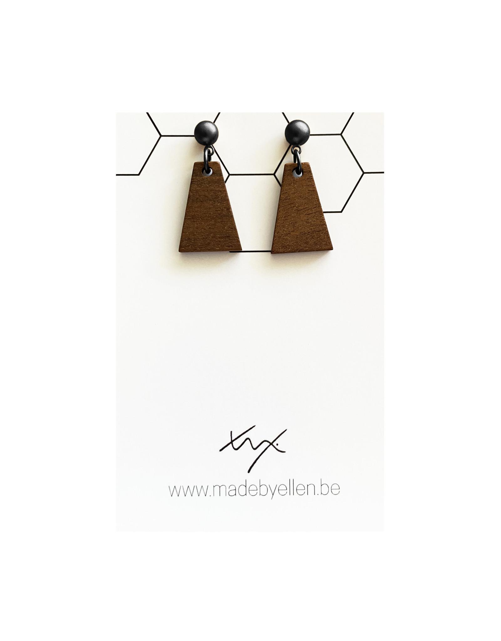 oorbEllen hout triangel stekertje zwart