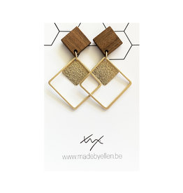 oorbEllen hout vierkant dubbel goud