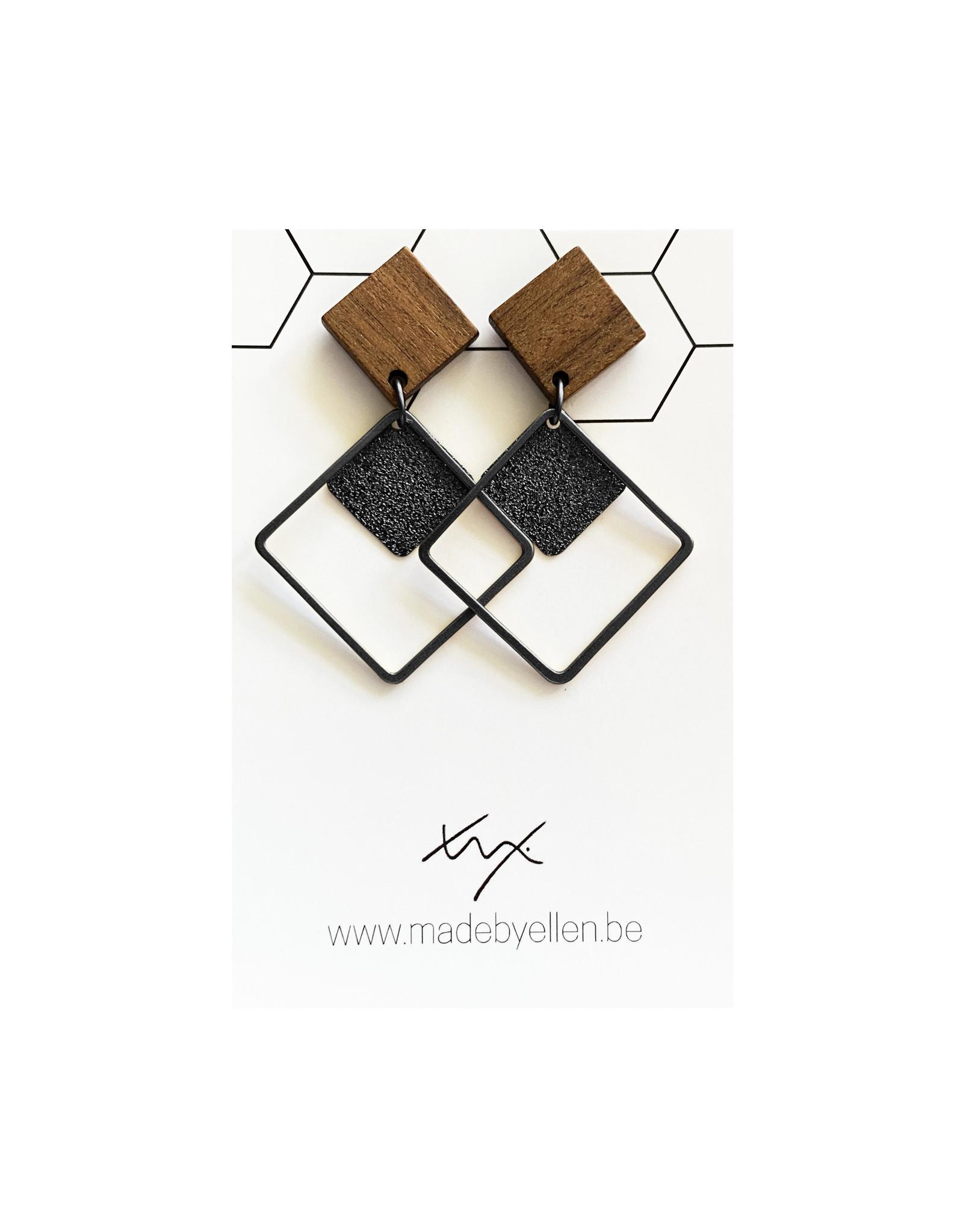 oorbEllen hout vierkant dubbel zwart