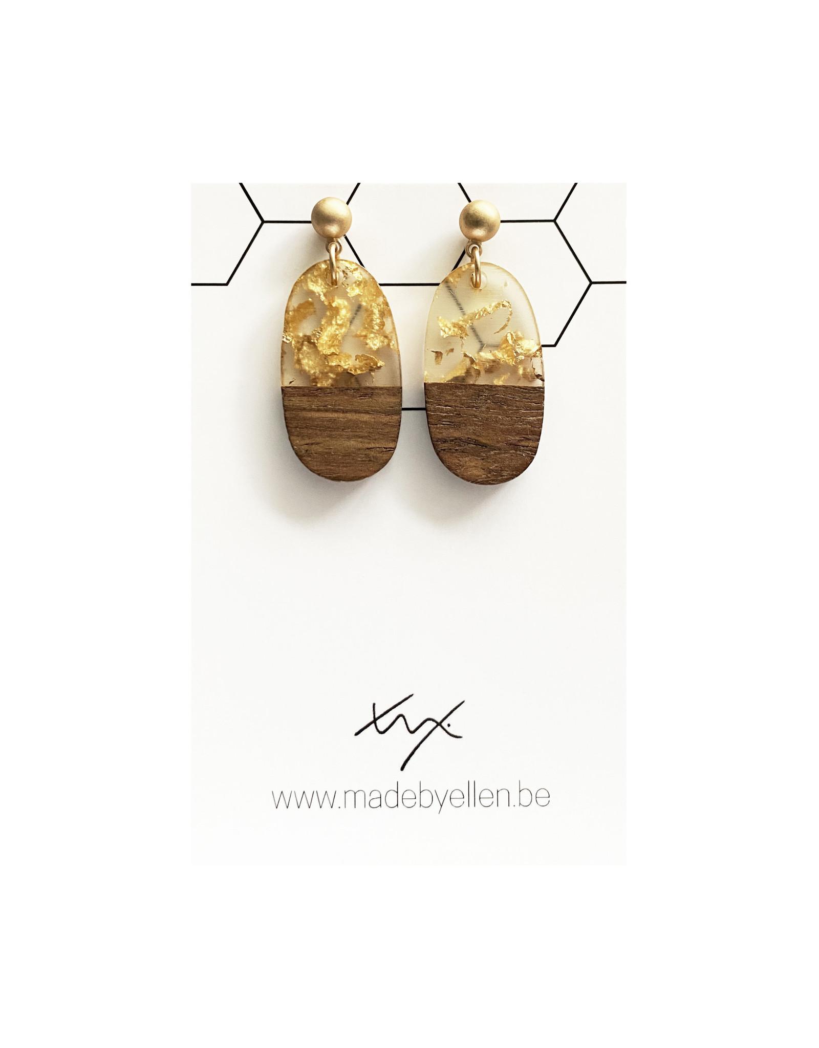 oorbEllen hars&hout ovaal goud stekertje bol