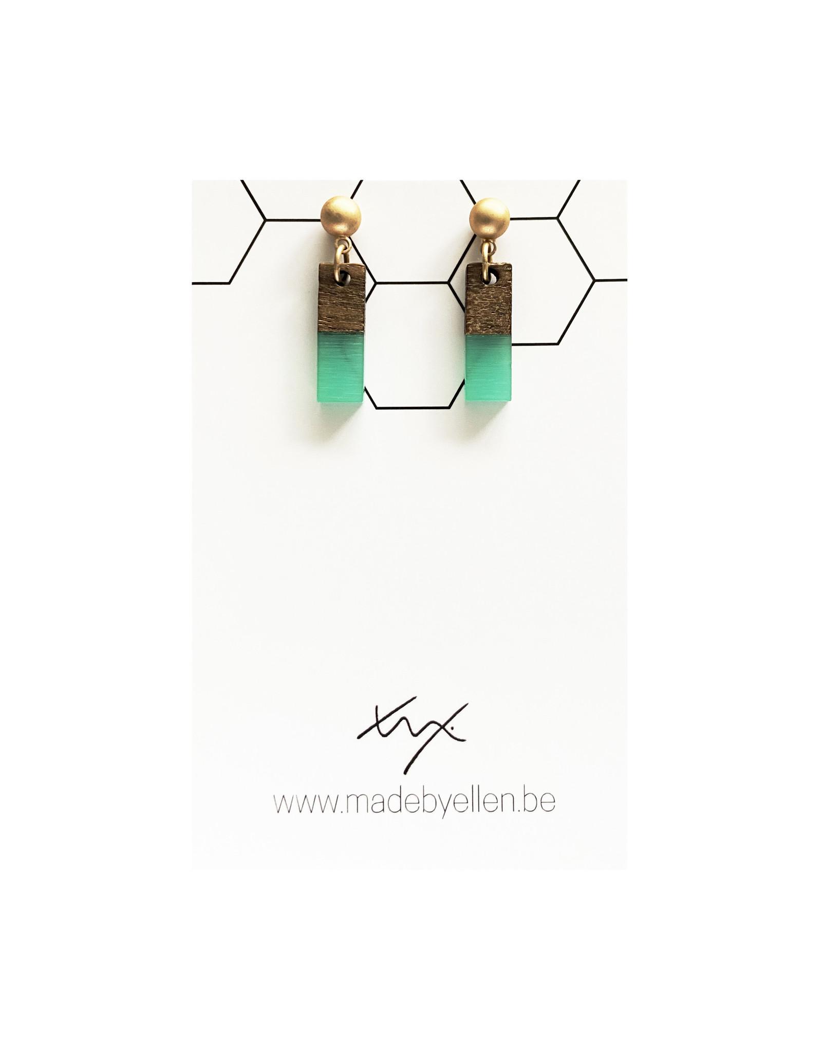 oorbEllen hars&hout rechthoekje mini turquoise