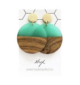 oorbEllen hars&hout cirkel Xl turquoise