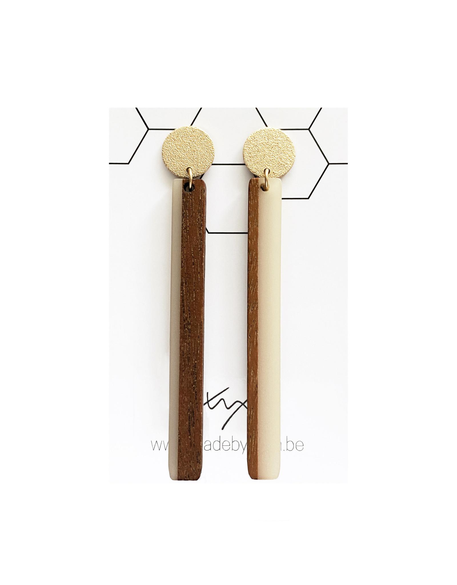 oorbEllen hars&hout staafje ecru XL