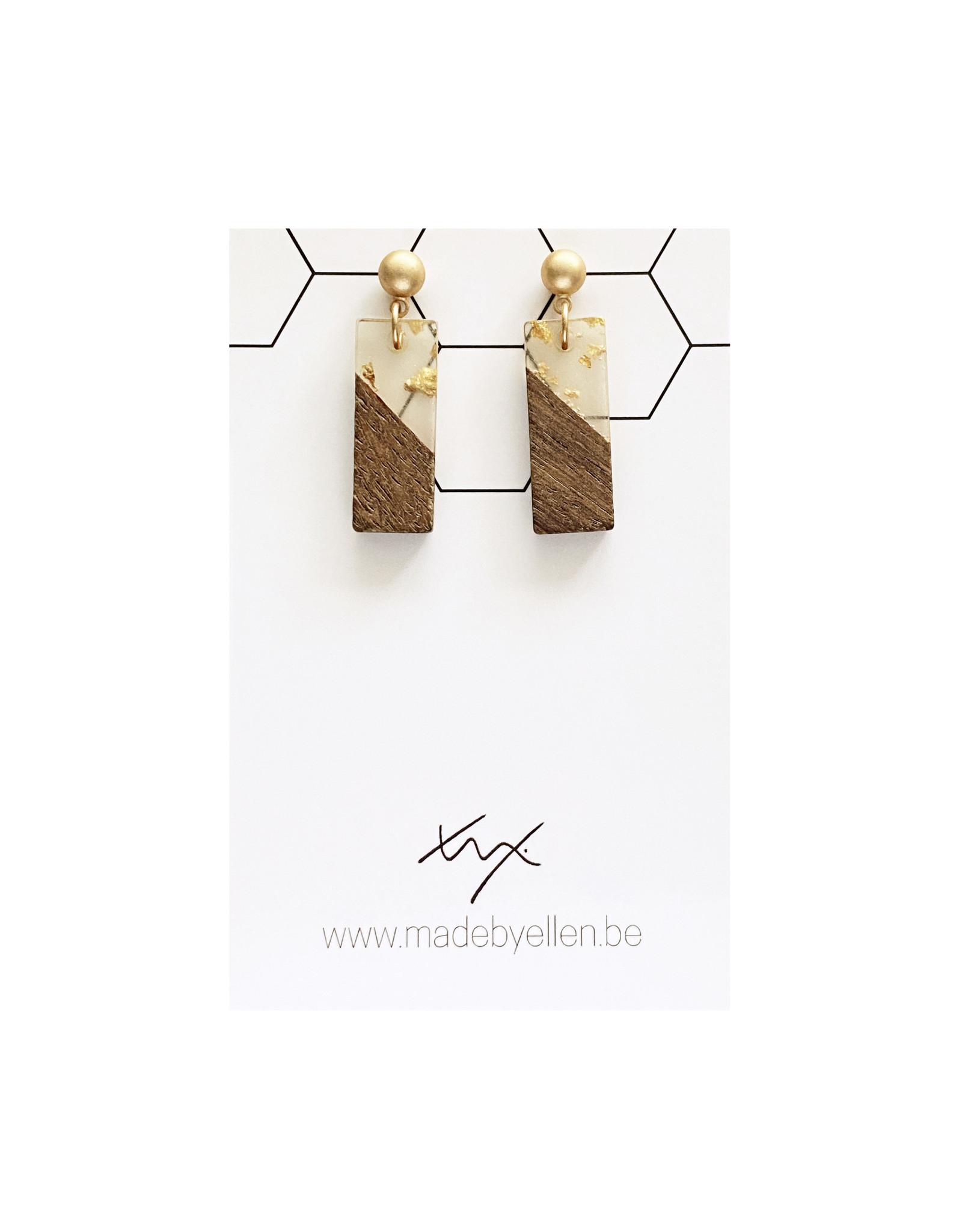 oorbEllen hars&hout rechthoekje goud