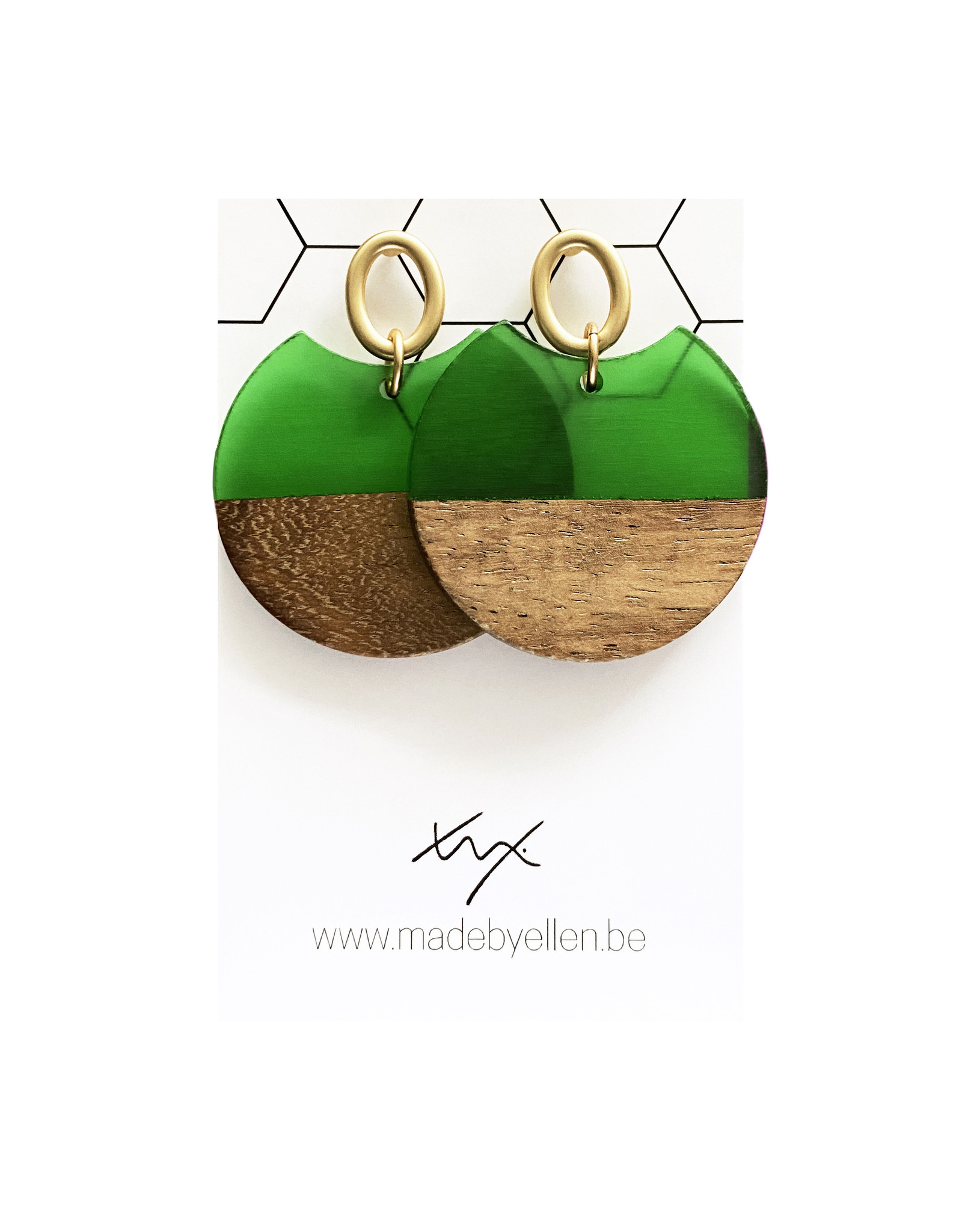 oorbEllen hars&hout cirkel hap transparant groen