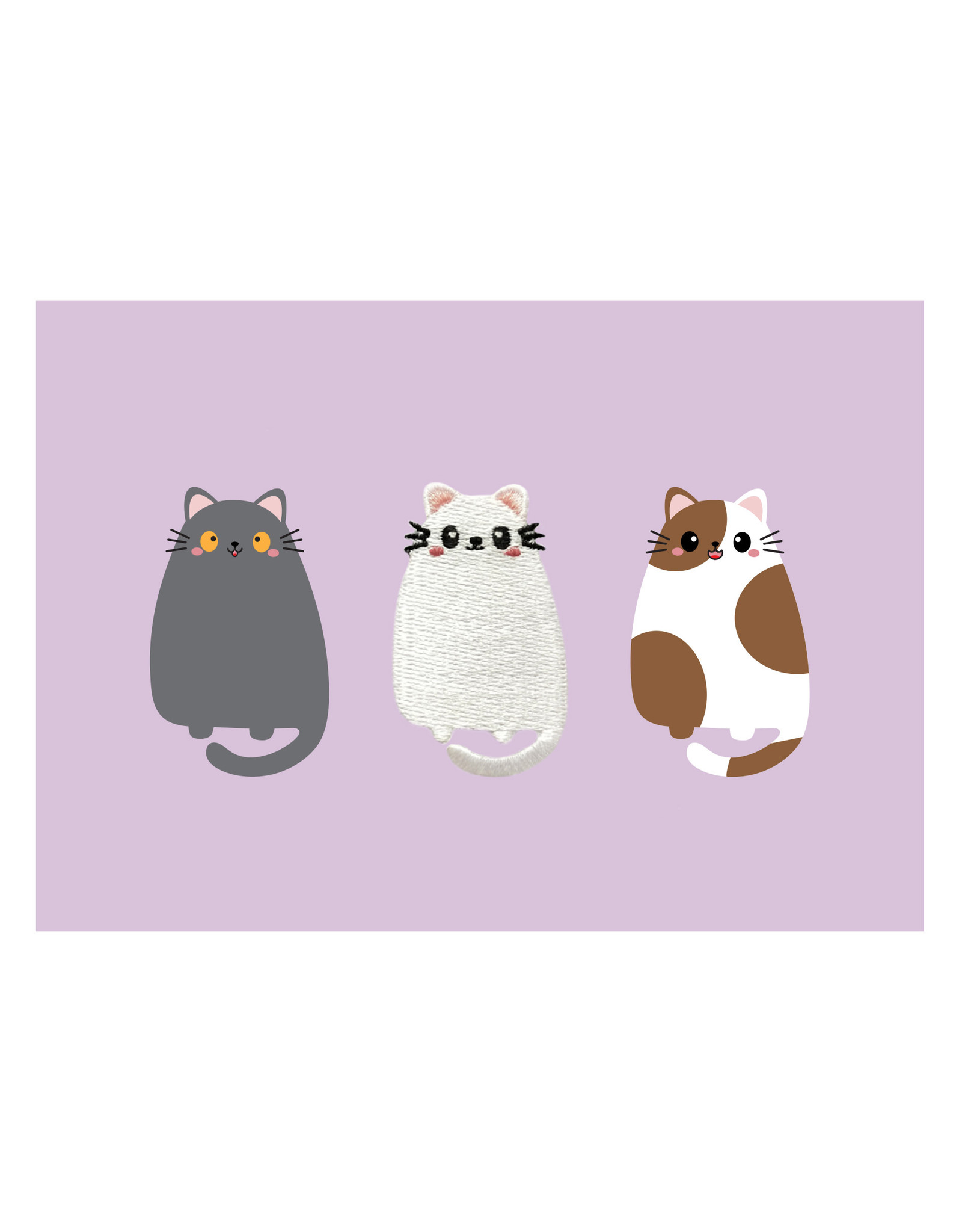 Postkaart met broche & enveloppe kat