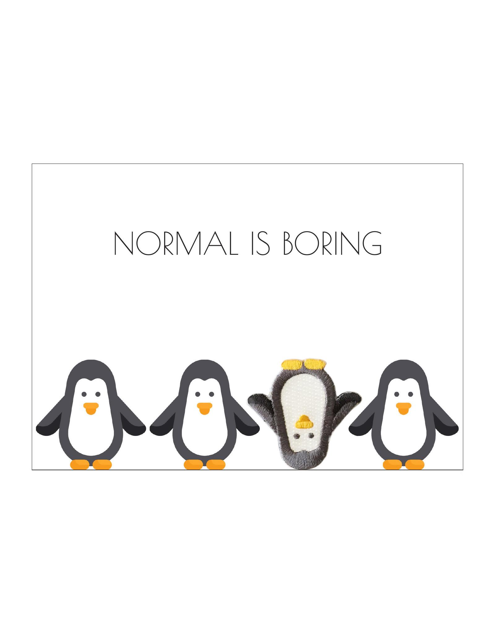 Postkaart met strijkpatch & enveloppe pinguïn