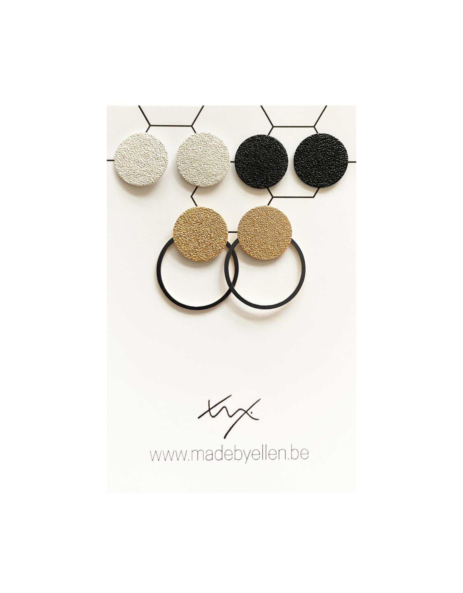 oorbEllen set met ring mat zwart
