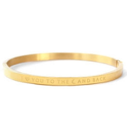 Armband RVS I love you to the moon and back smal goudkleurig