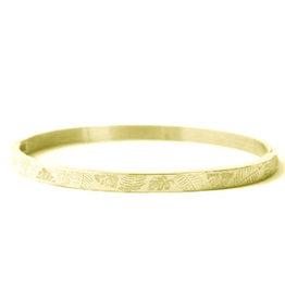 Armband RVS bladeren smal goudkleurig