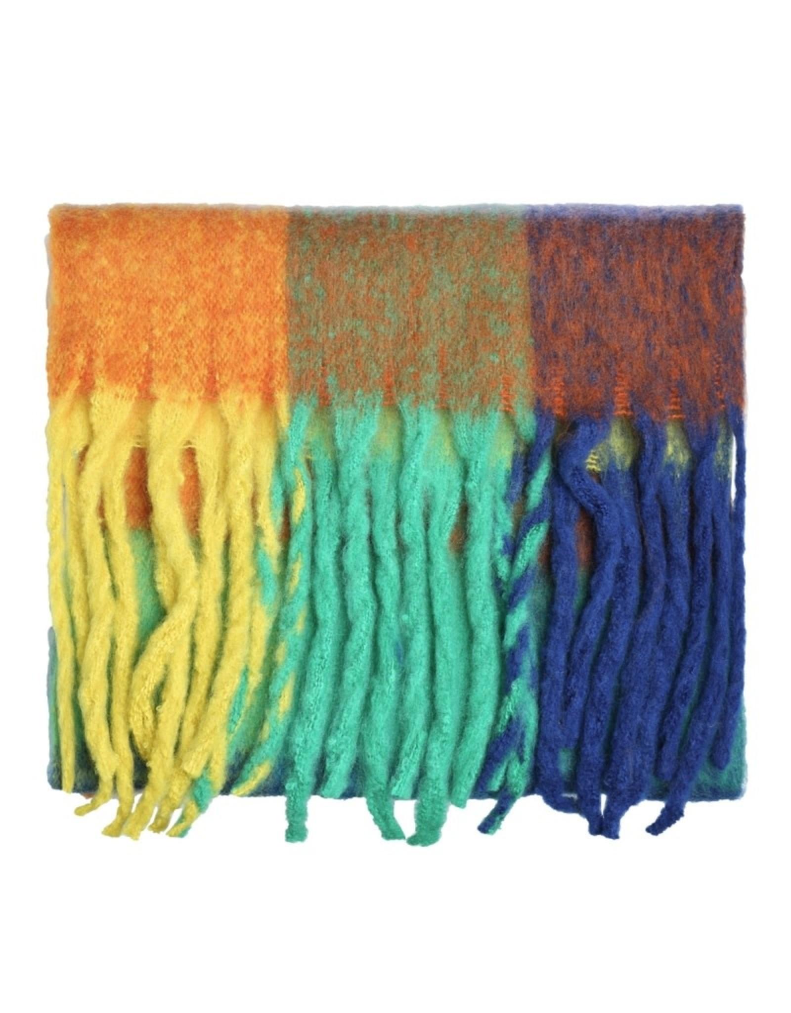 Sjaal geruit blauw/groen/geel