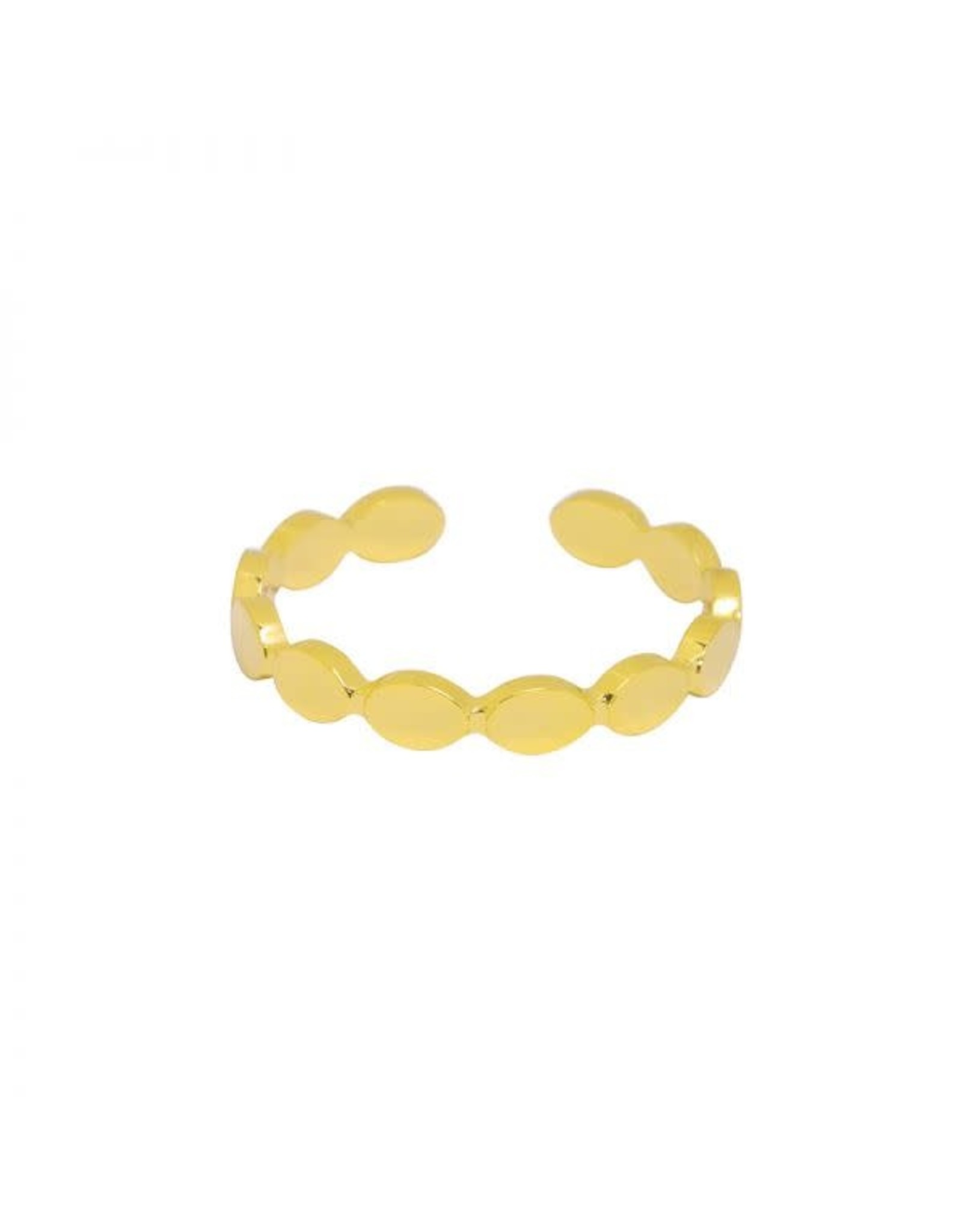 Ring RVS platte bolletjes goudkleurig