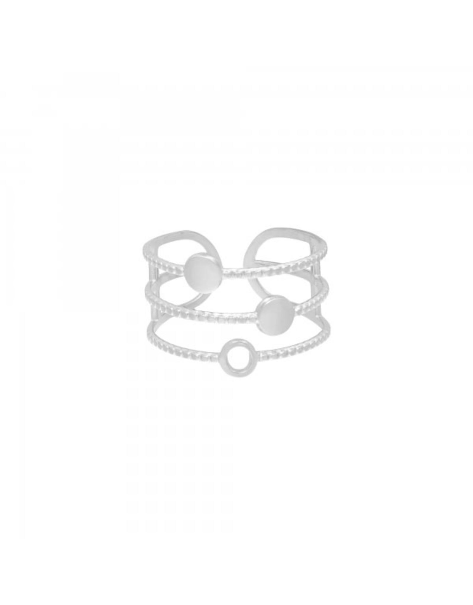 Ring RVS driedelig zilverkleurig