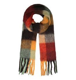 Sjaal geruit roest/oker/munt