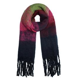 Sjaal blauw/roze/pistache