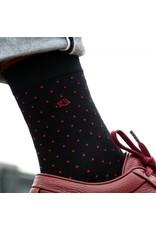 Sokken stippen zwart/rood