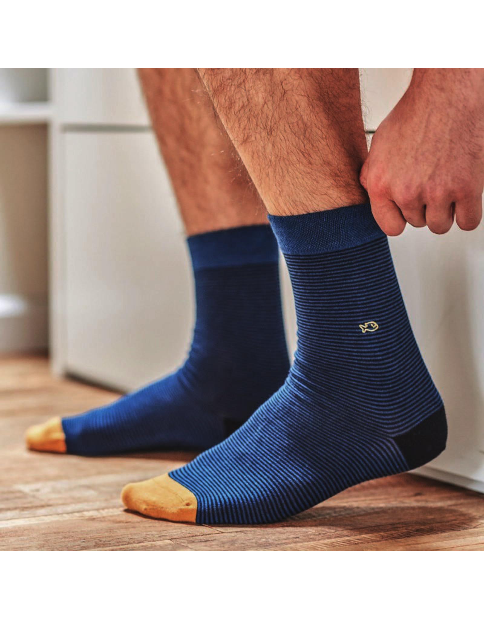 Sokken gestreept fijn donkerblauw/blauw/oranje