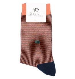 Sokken gestreept fijn oranje/donkerblauw