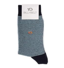 Sokken gestreept fijn zwart/lichtgrijs/oranje