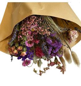 Droogbloemen boeket L roze