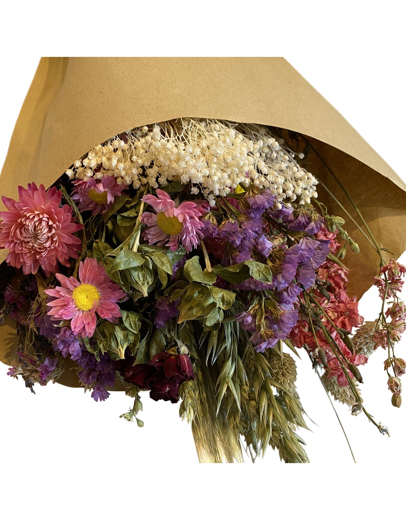 FL: Droogbloemen boeket L roze/paars