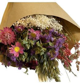 Droogbloemen boeket L roze/paars