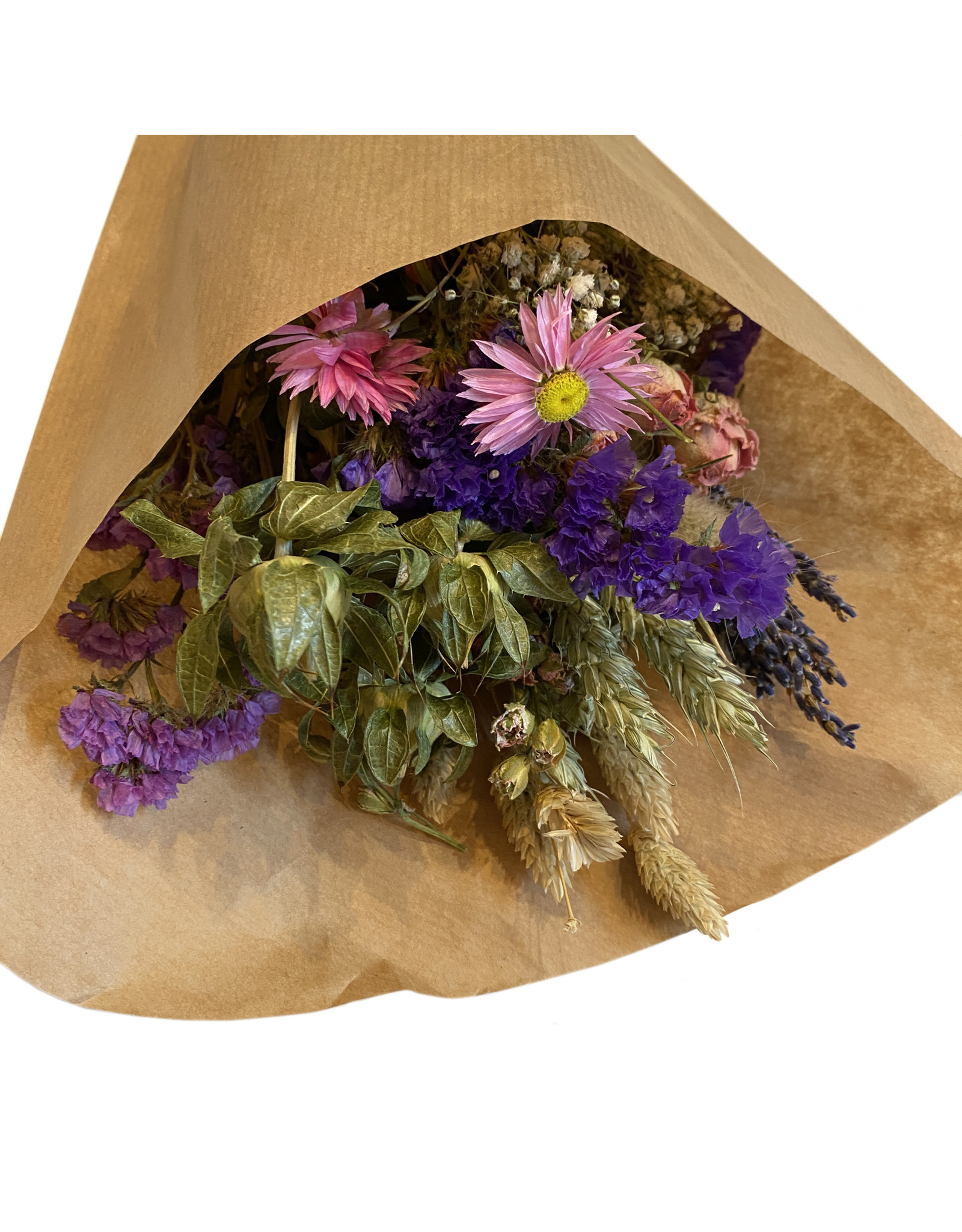 Droogbloemen boeket S roze/paars