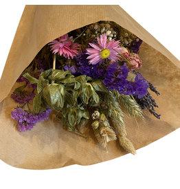 FL: Droogbloemen boeket S roze/paars