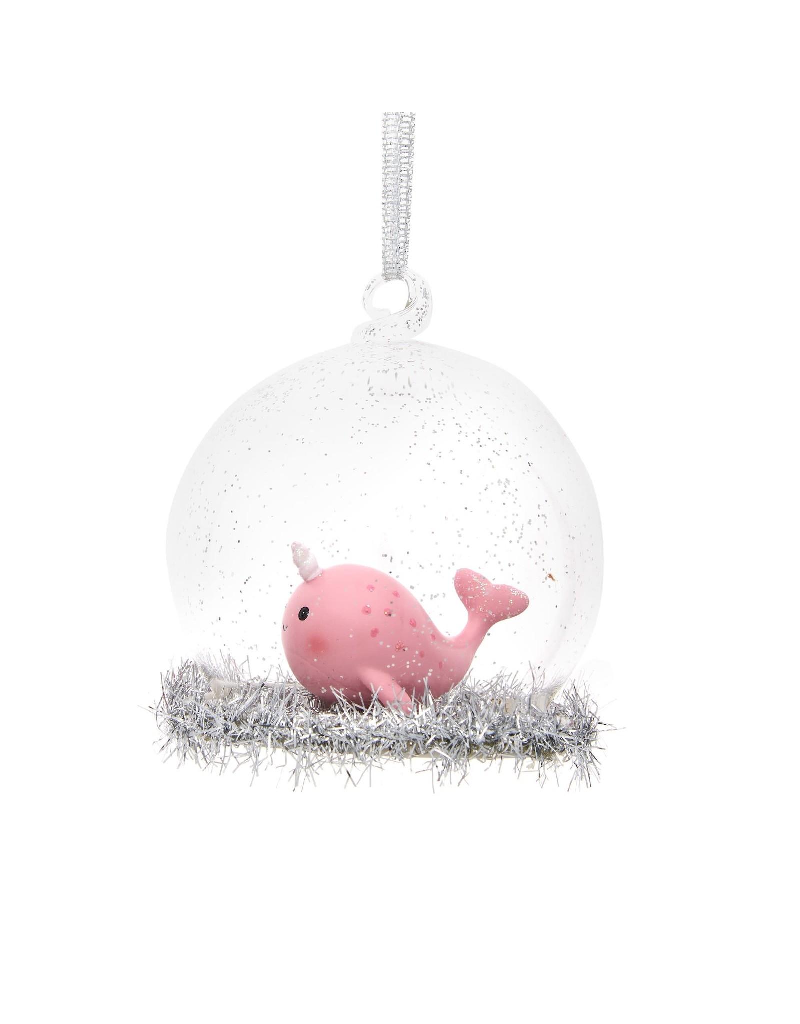 Kerstbal glas narwal