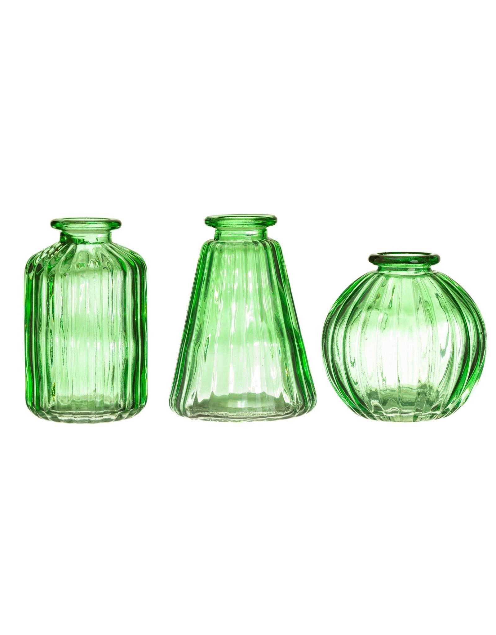 Vaasjes glas set groen