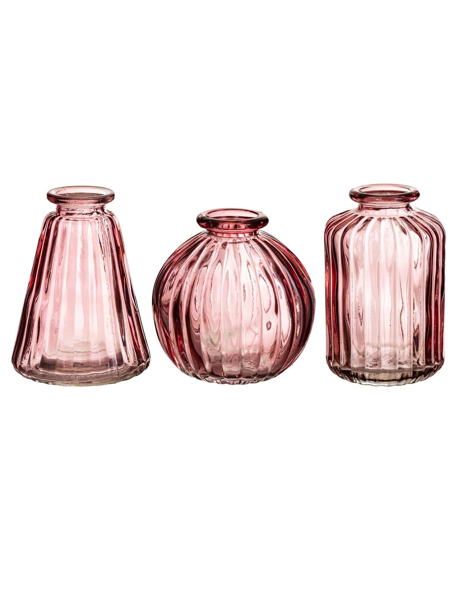 Vaasjes glas set oudroze