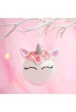 Kerstbal eenhoorn bloemen