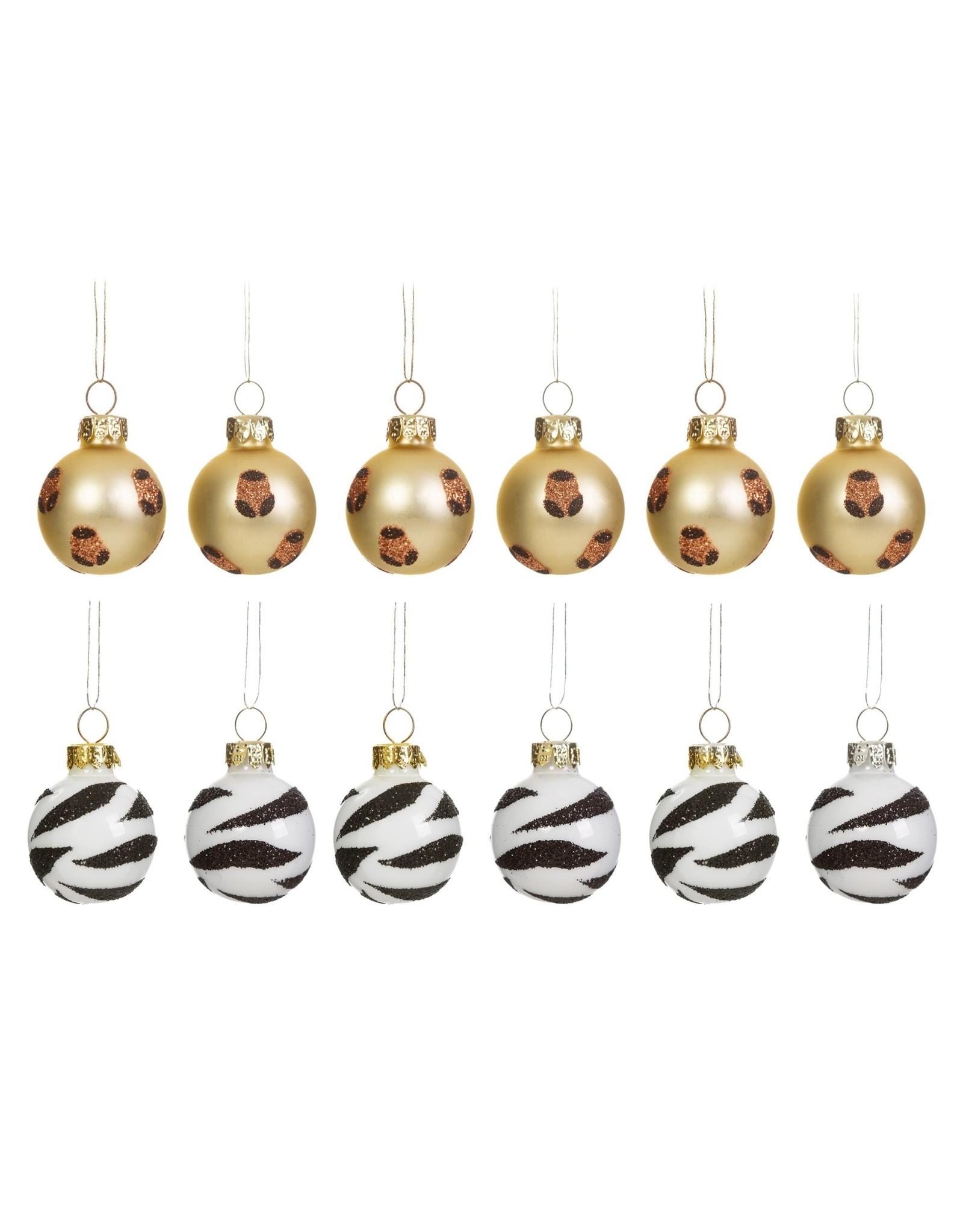 Kerstballen mini zebra & luipaard 12st.