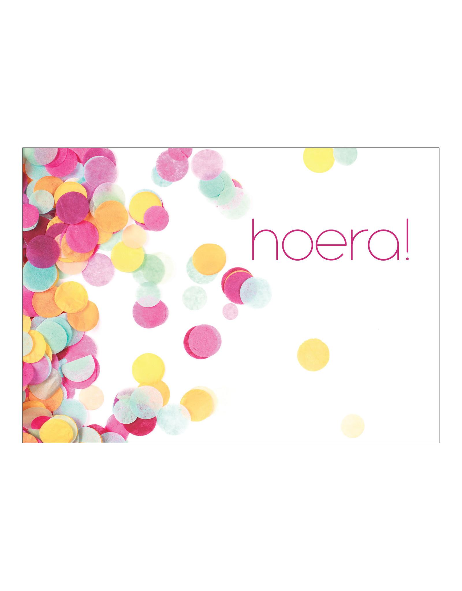 Postkaart confetti hoera