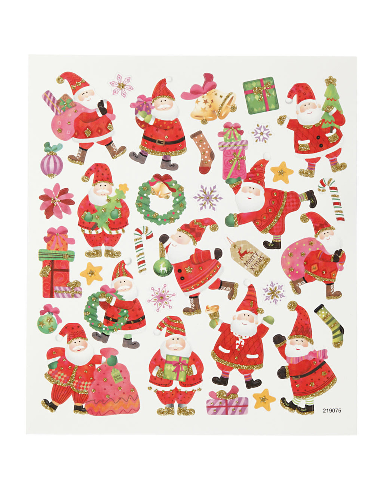 Stickervel glitter kerstman