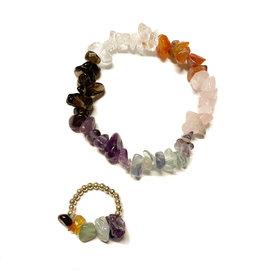 X: Setje armband & ring natuursteen