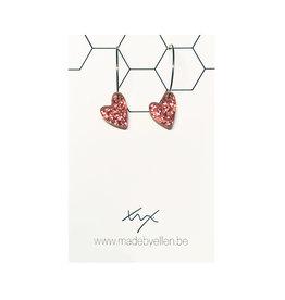 Creolen hart acryl glitter roze