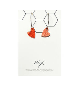 Creolen hart acryl rood