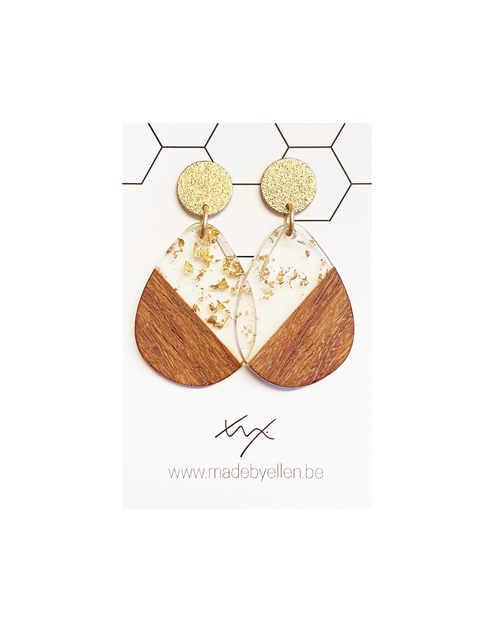 oorbEllen hars&hout druppel transparant goud