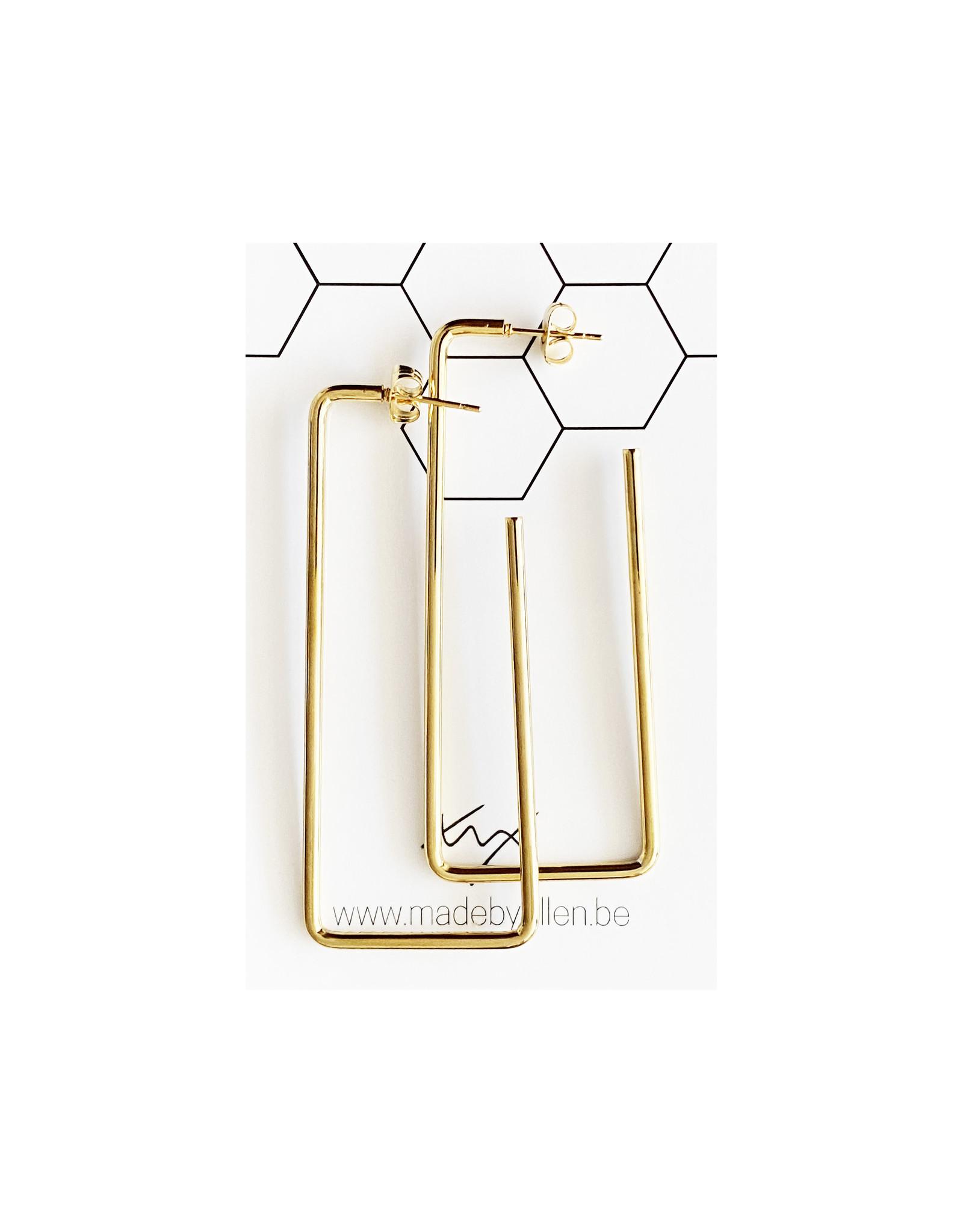 Hangers rechthoek goudkleurig RVS 64x26