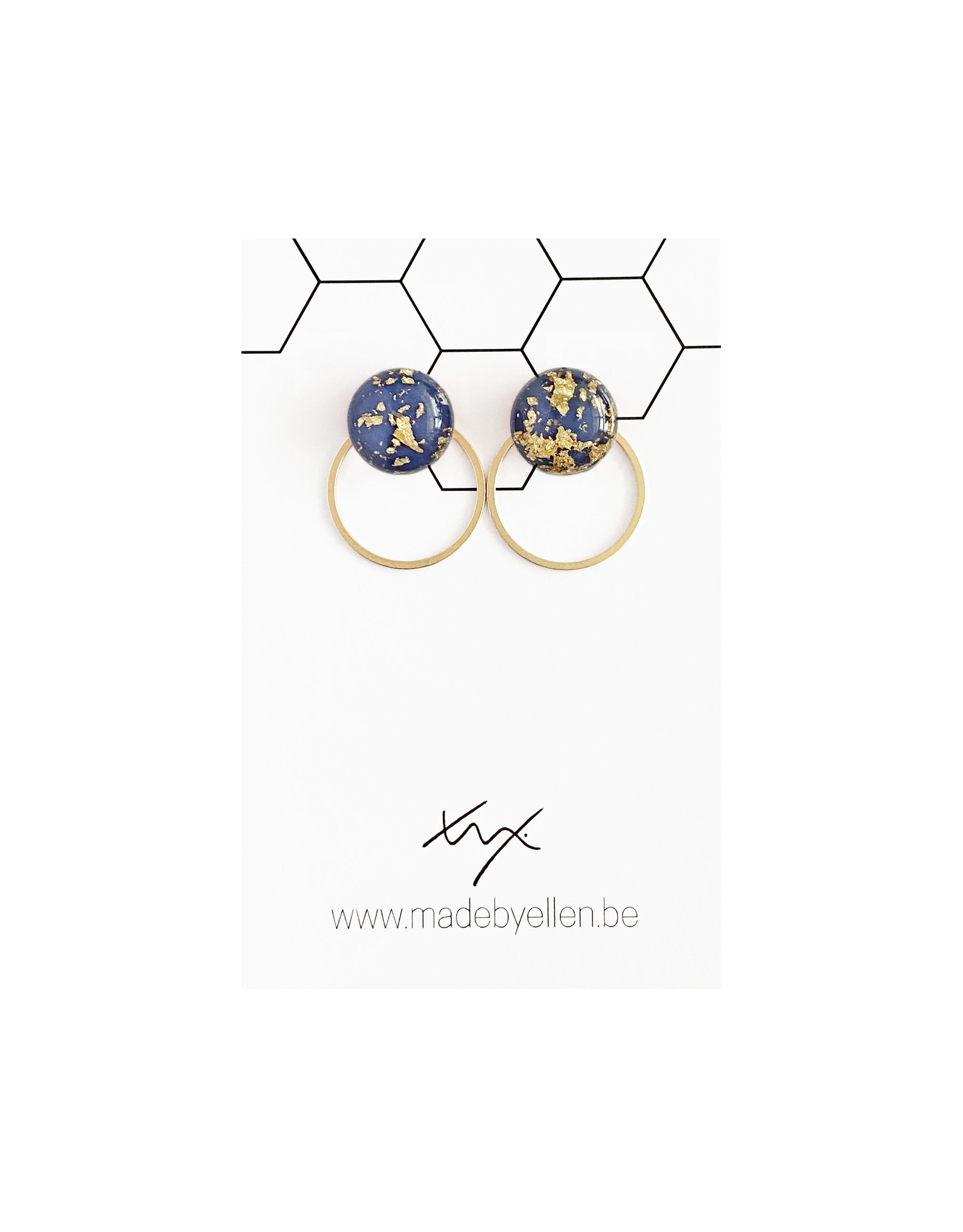 Stekertjes goudfolie 12mm blauwgrijs met ring