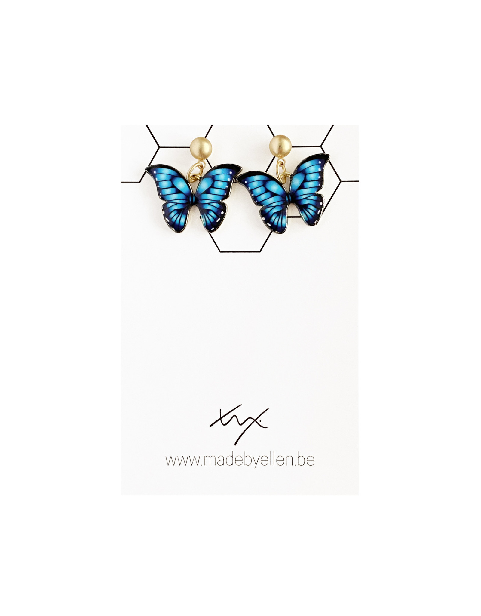 Hangertjes email vlinder blauw