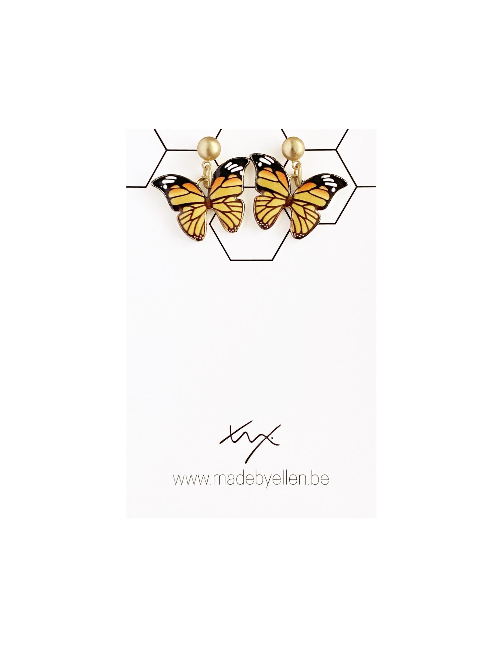 Hangertjes email vlinder geel