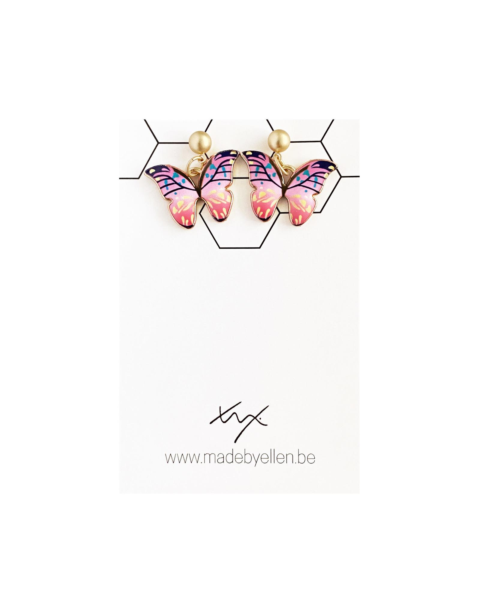Hangertjes email vlinder roze