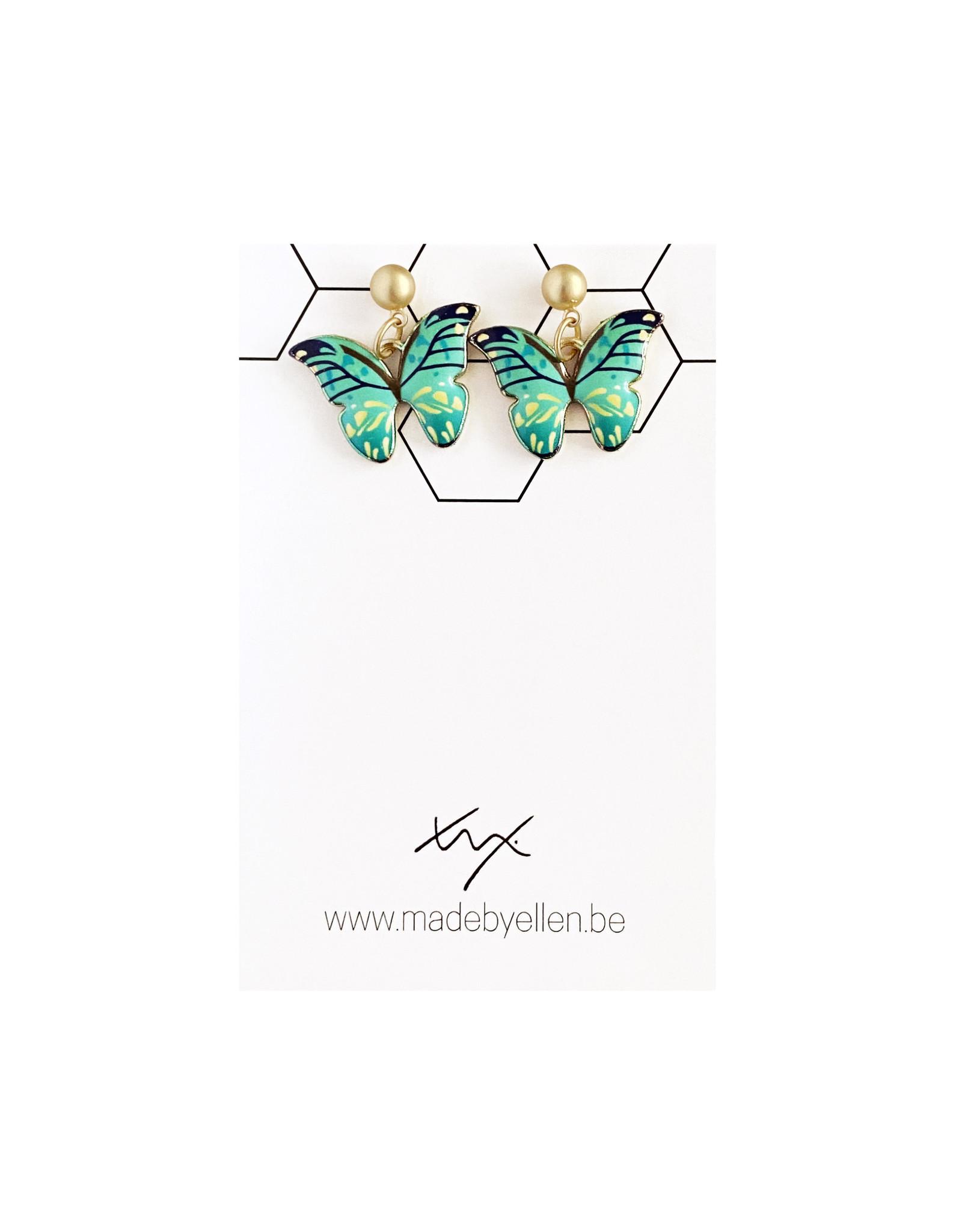 Hangertjes email vlinder groen