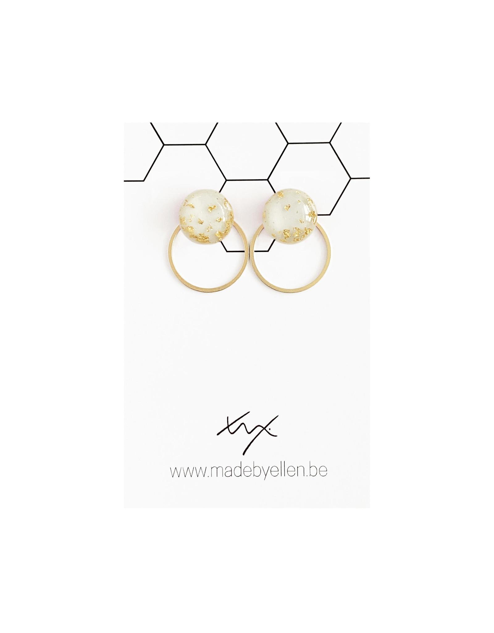 Stekertjes goudfolie 12mm ecru met ring