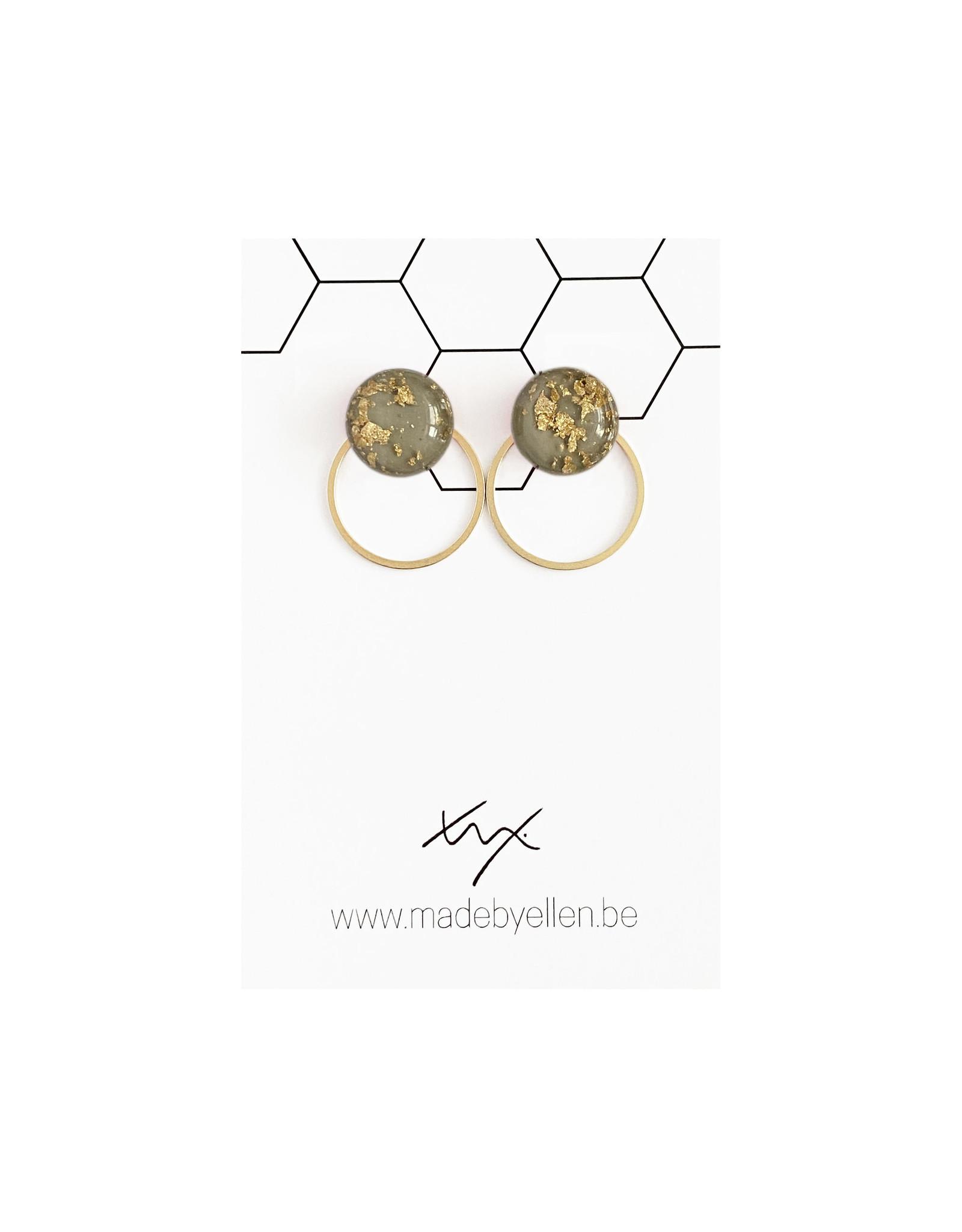 Stekertjes goudfolie 12mm grijs met ring