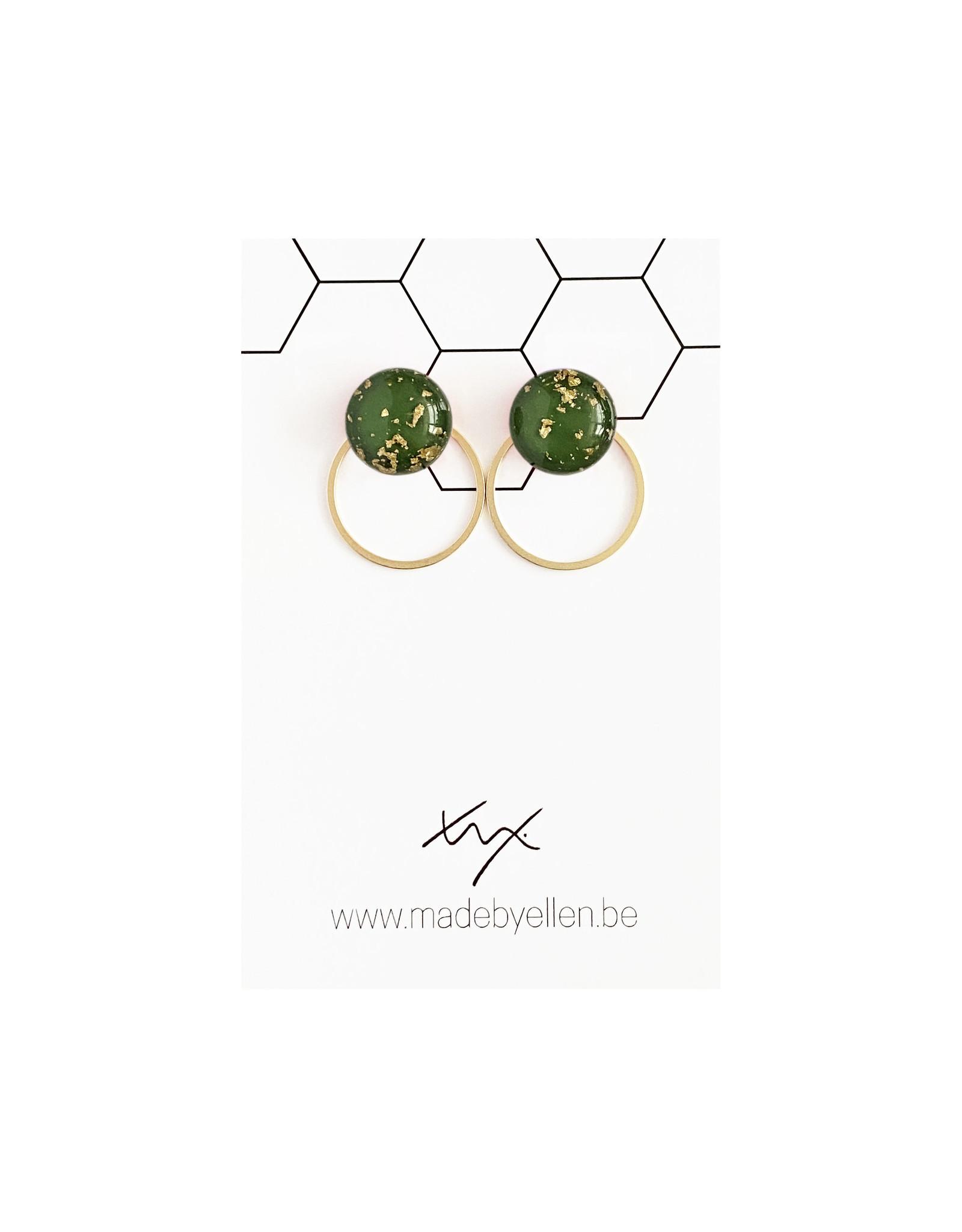Stekertjes goudfolie 12mm groen met ring