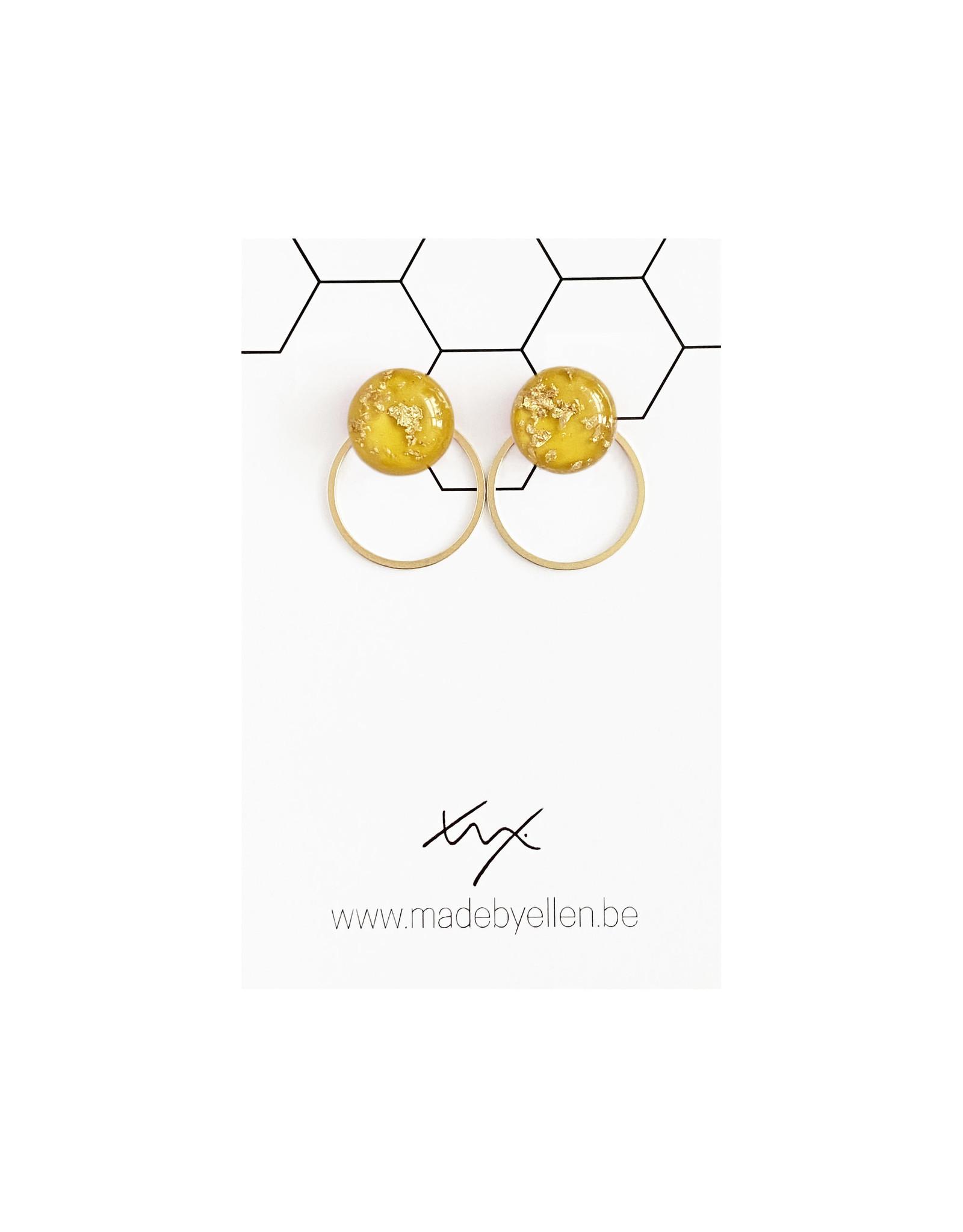 Stekertjes goudfolie 12mm oker met ring