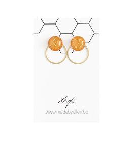 Stekertjes goudfolie 12mm oranje met ring